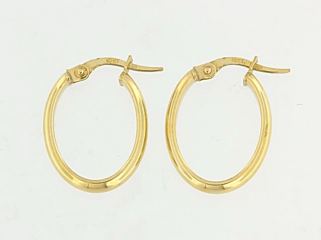 18KT Small Oval Hoop Earrings