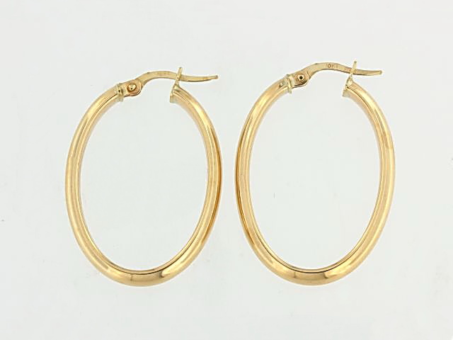 10KT Large Oval Hoop Earrings