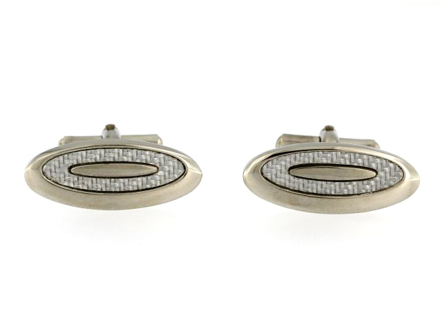 Oval Carbon Fibre Cufflinks