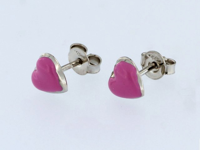 18KT Enamel Heart Earrings