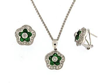 Green Garnet Earrings and Pendant