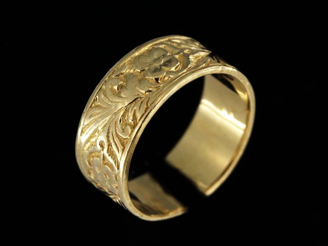 14KT Engraved Floral Band