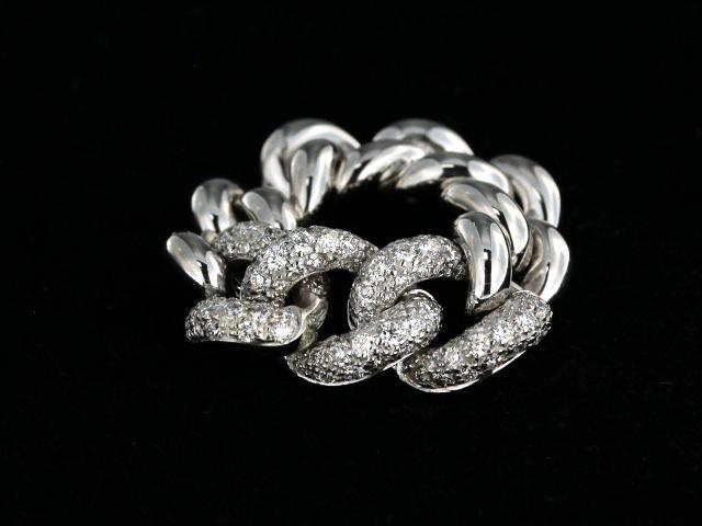 18KT Curb Link Bracelet with Diamonds