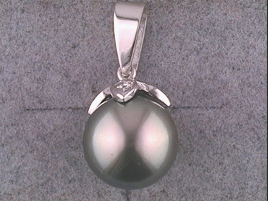 18kw Diamond Cap Grey Pearl Pendant