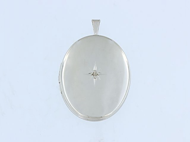 Silver Locket with a Diamond