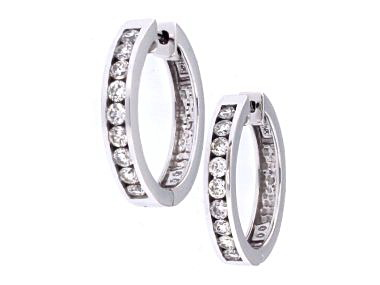 14kt Locking Diamond Hoop Earring