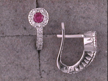 14kw Ruby & Diamond Earring