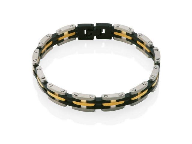 Steel Tri Colour Bracelet