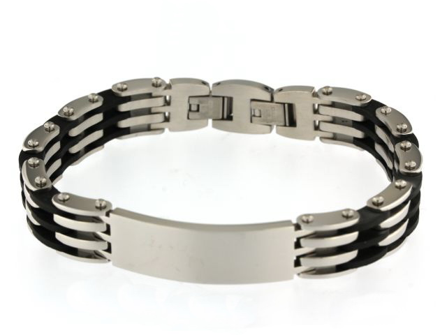 Steel and Rubber Link Bracelet