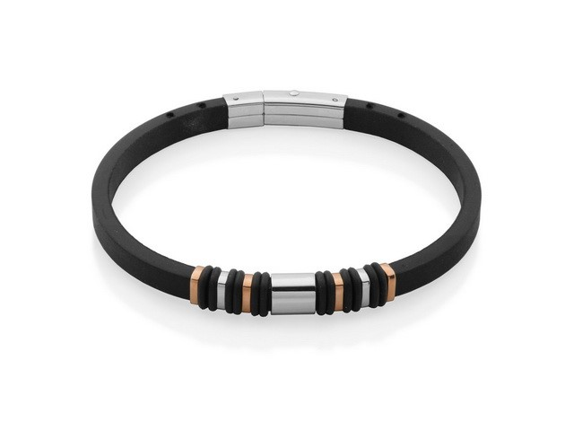 Black Rubber and Steel Bracelet