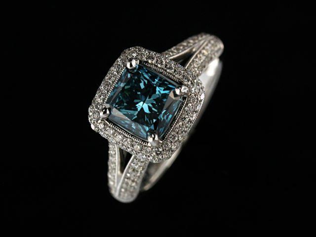 1.82 Carat Blue Diamond Ring