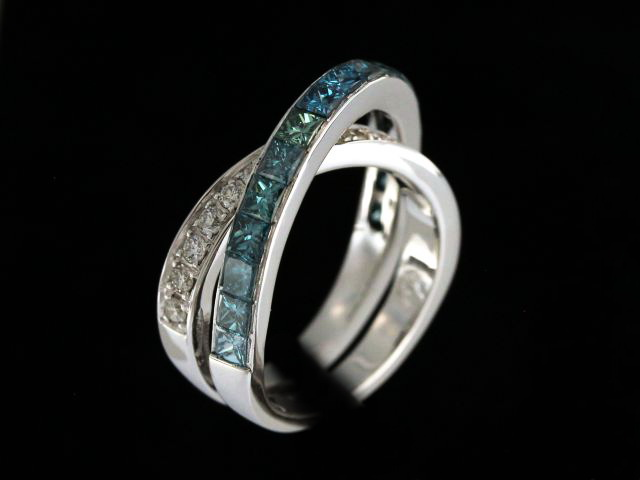 Blue & White Diamond Crossover Ring