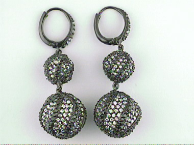 Silver Ball Earrings With Cubic