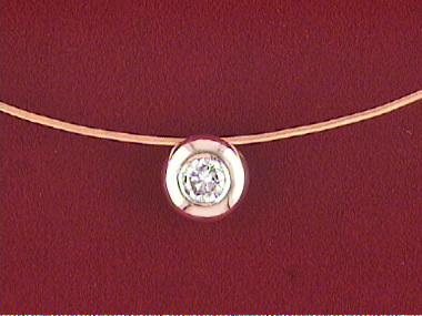 14kw Wire &.20 Ct Diamond Pendant
