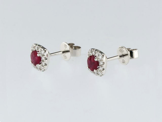 Ruby & Diamond Studs