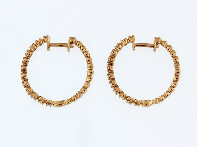 Rose Gold Diamond Hoops