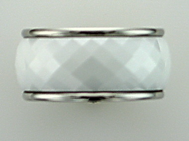 White Ceramic And Steel Ring