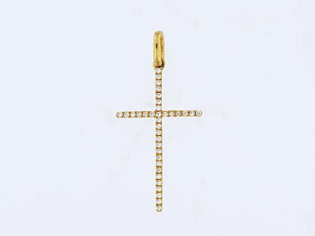 18KY Diamond Cross Pendant