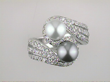 Sterling Ring With Faux Pearls