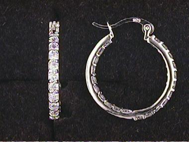 Silver C Z Hoop Earrings