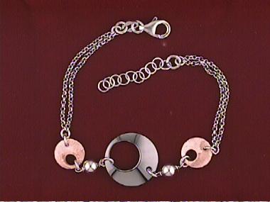 Silver & Pink Gold Plate Bracelet