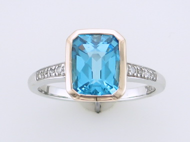 10kt Blue Topaz & Diamond Ring