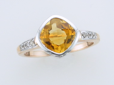 10kt Citrine & Diamond Ring
