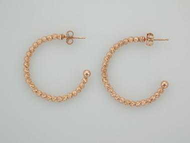 Faceted Bead Hoop Earrings