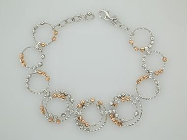 Silver & Pink Saturn Bracelet