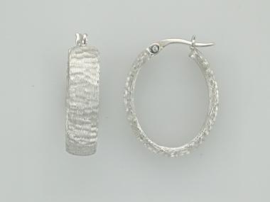 14KT oval textured hoop earrings