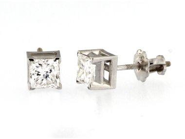 0.80 ctw Princess Diamond Studs