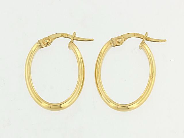 18KT Small Oval Hoop Earrings