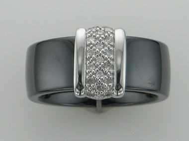 9kw Black Ceramic & Diamond Ring