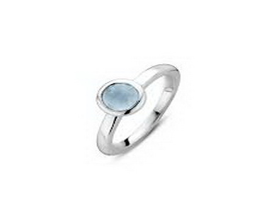 Light Blue Bead Silver Ring