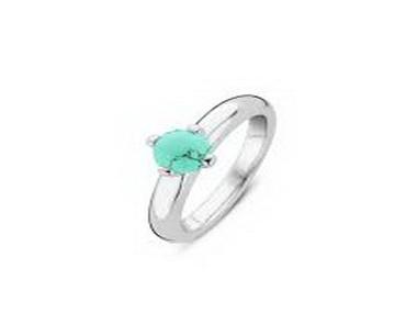 Aqua Bead Silver Ring