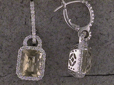 Lime Quartz & Diamond Earrings