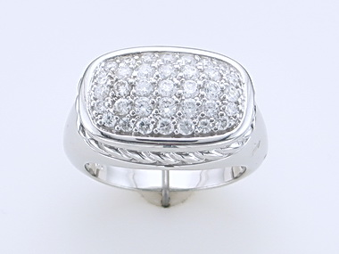 Silver Ring with Cubics