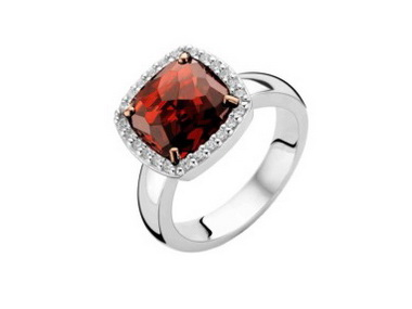 Red Cushion Shape Crystal Ring