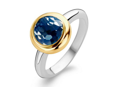 Faceted Blue Crystal Ring