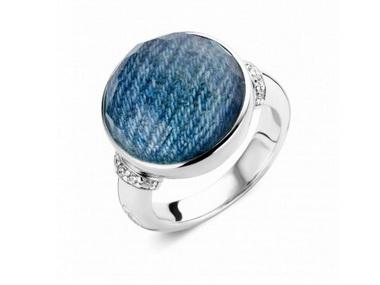 Denim & Crystal Ring