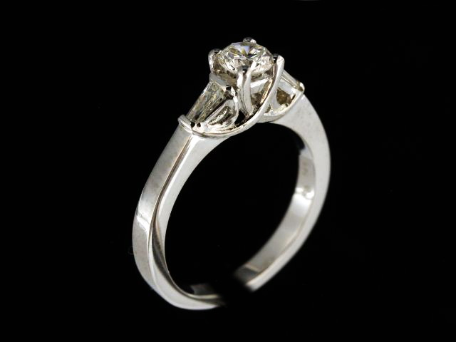 Round & Baguette Engagement Ring