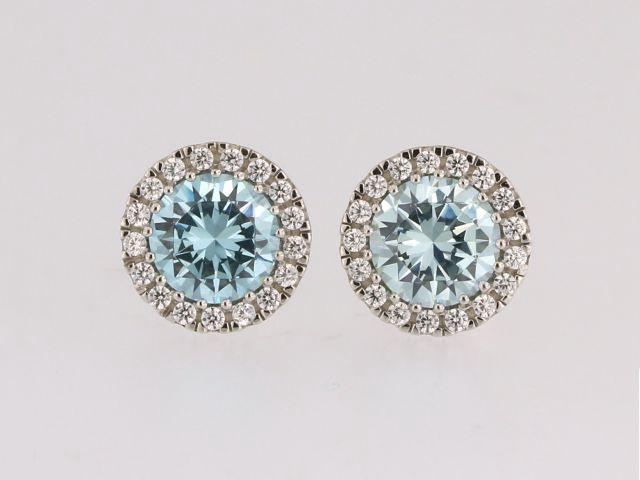 Blue & White Cubic Earrings