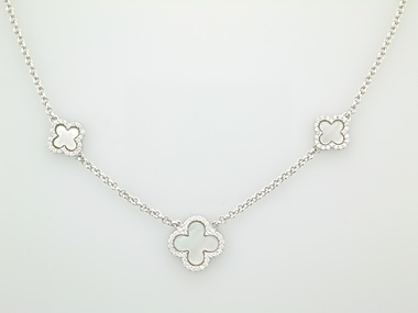 Silver Quatrefoil station necklace