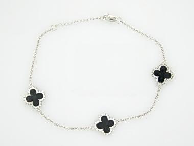 Onyx Quatrefoil Bracelet