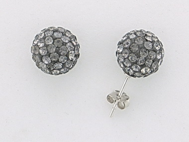 Grey Crystal Ball Earrings