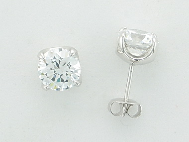 Silver  and cubic stud earrings