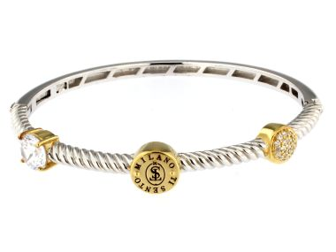 Silver Bangle with Cubic