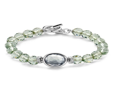 Green Crystal and Silver Bracelet