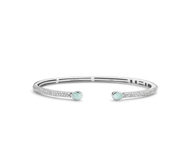 Silver and Light Blue Stone Bangle