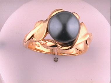 14ky Galetea Blk Tahitian Ring